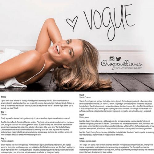 bea Skin Clinic - Press & Media - Vogue Williams for OK! Magazine