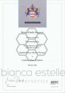 beaSkinClinic Certificate Diploma