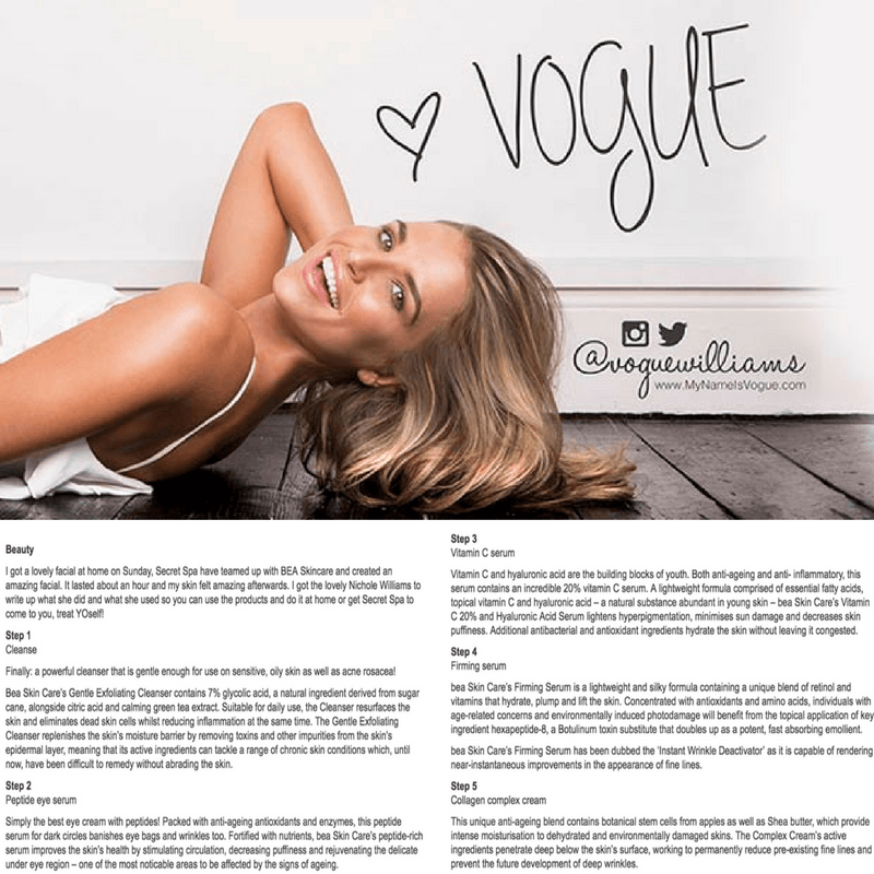 celebrity skincare secrets bea Skin Clinic - Press & Media - Vogue Williams for OK! Magazine